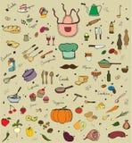 Σύνολο Doodle κουζινών Στοκ Εικόνα