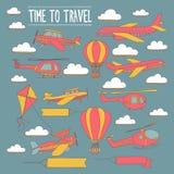 Σύνολο Doodle χρόνου εικόνων να ταξιδεψει Στοκ φωτογραφίες με δικαίωμα ελεύθερης χρήσης