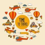 Σύνολο Doodle χρόνου εικόνων να ταξιδεψει Στοκ εικόνες με δικαίωμα ελεύθερης χρήσης