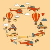 Σύνολο Doodle χρόνου εικόνων να ταξιδεψει Στοκ εικόνα με δικαίωμα ελεύθερης χρήσης
