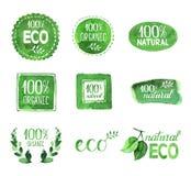 Σύνολο Eco, οργανικές, φυσικές αυτοκόλλητες ετικέττες watercolor Στοκ Φωτογραφίες