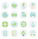Σύνολο ecologic εικονιδίου Αφηρημένη συλλογή στοιχείων για το έμβλημα, ετικέτα μπλε χρώμα πράσινο Στοκ Εικόνα