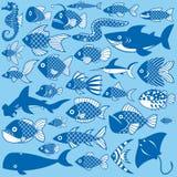 Σύνολο Editable διαφορετικών ζώων θάλασσας στο υπόβαθρο Στοκ Εικόνες