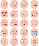 Σύνολο emoji εγκεφάλου κινούμενων σχεδίων Στοκ εικόνα με δικαίωμα ελεύθερης χρήσης