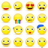 Σύνολο Emoji Σύνολο Emoticon Ύφος κινούμενων σχεδίων Στοκ Φωτογραφία
