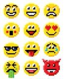 Σύνολο Emoji Emoticon τέχνης εικονοκυττάρου Διανυσματική απεικόνιση