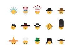 Σύνολο emoticon με το καπέλο Στοκ φωτογραφίες με δικαίωμα ελεύθερης χρήσης