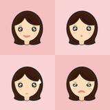 Σύνολο Emoticon χαριτωμένου κοριτσιού Στοκ Φωτογραφία