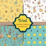 Σύνολο Floral εκλεκτής ποιότητας άνευ ραφής συλλογής σχεδίων Στοκ Φωτογραφίες