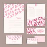 Σύνολο floral εκλεκτής ποιότητας γαμήλιων καρτών, προσκλήσεων ή ανακοίνωσης Στοκ Εικόνες
