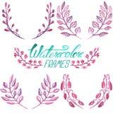 Σύνολο floral πλαισίων watercolor Στοκ Φωτογραφίες