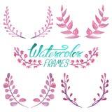 Σύνολο floral πλαισίων watercolor Στοκ Εικόνα