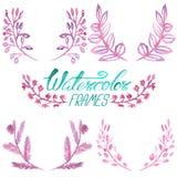 Σύνολο floral πλαισίων watercolor Στοκ φωτογραφία με δικαίωμα ελεύθερης χρήσης