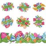 Σύνολο floral σχεδίων και άνευ ραφής συνόρων Στοκ Εικόνα
