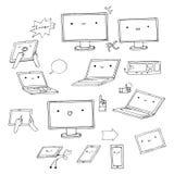 Σύνολο hand-drawn συσκευών kawaii Στοκ Φωτογραφία