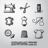 Σύνολο handdrawn ράβοντας εικονιδίων - μηχανή, ψαλίδι Στοκ Εικόνες