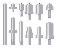 Σύνολο indenters διαμαντιών που απομονώνεται στο λευκό Στοκ Εικόνα