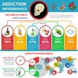 Σύνολο Infographic εθισμού στα ναρκωτικά διανυσματική απεικόνιση