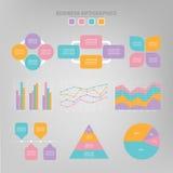 Σύνολο Infographic, επίπεδο σχέδιο του διανύσματος επιχειρησιακών εικονιδίων Στοκ Φωτογραφίες