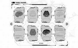 Σύνολο infographic επιτροπών HUD με τον εγκέφαλο Head-up εμβλήματα επίδειξης για τον Ιστό και app Φουτουριστικό ενδιάμεσο με τον  Διανυσματική απεικόνιση