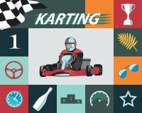 Σύνολο Infographic Karting Στοκ φωτογραφίες με δικαίωμα ελεύθερης χρήσης