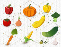 Σύνολο isometric λαχανικών Στοκ εικόνες με δικαίωμα ελεύθερης χρήσης