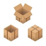 Σύνολο Isometric κουτιών από χαρτόνι που απομονώνεται στο λευκό Στοκ εικόνες με δικαίωμα ελεύθερης χρήσης