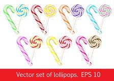 Σύνολο Lollipops γλυκό συλλογής Στοκ Εικόνες