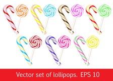 Σύνολο Lollipops γλυκό συλλογής Στοκ Εικόνα