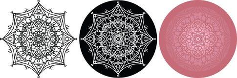 Σύνολο Mandala για το χρωματισμό του βιβλίου Μαύρος, άσπρος, σχέδιο χρώματος Στοκ φωτογραφία με δικαίωμα ελεύθερης χρήσης