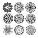 Σύνολο Mandala Floral εθνικός αφηρημένος διακοσμητικός Στοκ Εικόνα
