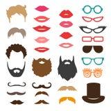 Σύνολο mustache, γενειάδων, κουρεμάτων, χειλιών και γυαλιών ηλίου Στοκ Εικόνες