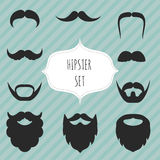 Σύνολο mustaches και εκλεκτής ποιότητας στοιχείων γενειάδων Στοκ Εικόνες