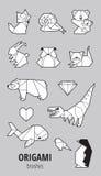 Σύνολο origami με τα ζώα Στοκ Εικόνα