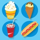 Σύνολο popcorn γρήγορου φαγητού εικονιδίων κόλας παγωτού καυτής Στοκ φωτογραφία με δικαίωμα ελεύθερης χρήσης