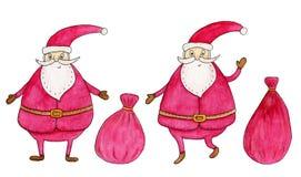σύνολο santa Claus Συρμένη χέρι απεικόνιση Watercolor Στοκ εικόνες με δικαίωμα ελεύθερης χρήσης