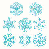 Σύνολο snowflakes απεικόνισης Στοκ φωτογραφία με δικαίωμα ελεύθερης χρήσης