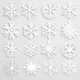 Σύνολο snowflakes εγγράφου Στοκ Φωτογραφίες