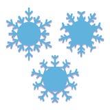 Σύνολο snowflakes που απομονώνεται στο μπλε υπόβαθρο Στοκ Φωτογραφίες