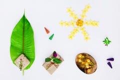 Σύνολο SPA, κάψα για την τρίχα, φύλλο, σαπούνι Χαλαρώνοντας χρόνος aromatherapy Η τοπ άποψη, επίπεδη βάζει Στοκ Εικόνες