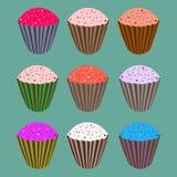 Σύνολο sweety cupcakes Στοκ εικόνες με δικαίωμα ελεύθερης χρήσης