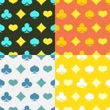 Σύνολο Varicolored άνευ ραφής σχεδίων με τα κοστούμια των καρτών Στοκ Εικόνα