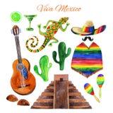 Σύνολο watercolor του Μεξικού Viva Στοκ εικόνα με δικαίωμα ελεύθερης χρήσης