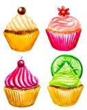 Σύνολο watercolor cupcakes Στοκ Εικόνα