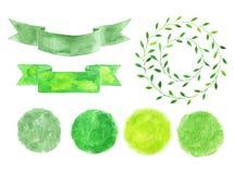 Σύνολο watercolor logotypes Πράσινα σημεία, ετικέτες, διακριτικά, φύλλα Στοκ φωτογραφία με δικαίωμα ελεύθερης χρήσης
