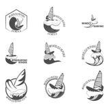 Σύνολο windsurfing διανυσματική απεικόνιση λογότυπων Στοκ φωτογραφία με δικαίωμα ελεύθερης χρήσης