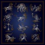 Σύνολο zodiac σημαδιών στο floral ύφος 1 Στοκ Εικόνες