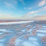 Σύντομη χειμερινή ημέρα παγωμένο tundra, τοπ άποψη στοκ εικόνες