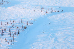 Σύντομη χειμερινή ημέρα παγωμένο tundra, τοπ άποψη στοκ φωτογραφία με δικαίωμα ελεύθερης χρήσης