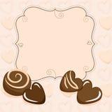 Σύντομο χρονογράφημα βαλεντίνων με τις καρδιές σοκολάτας ελεύθερη απεικόνιση δικαιώματος